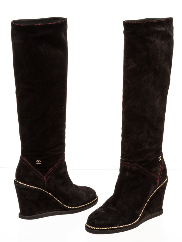 Chanel Suede Black Chainlink Wedge Boots ( Size 37 )