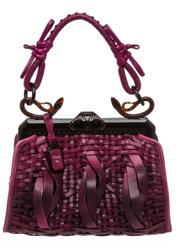 Christian Dior Purple Leather Samourai 1947 Intrecciato Frame Bag