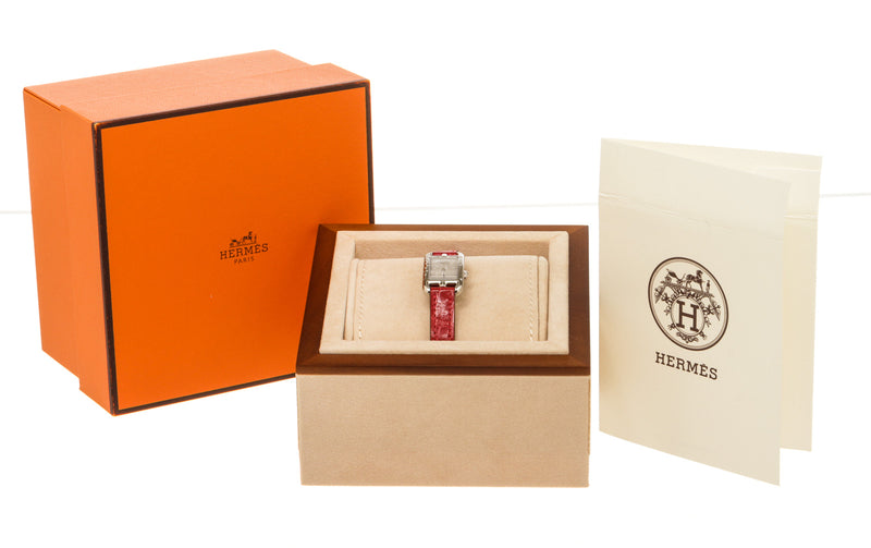 Hermes Nantucket Jete Silver de Diamants Stainless Steel Watch