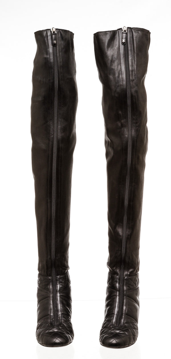 Chanel Interlocking Black Leather over the Knee Boots ( Size 38 )