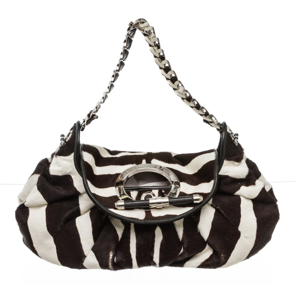 Christian Dior Brown White Leather Pony Hair Zebra Jazz Club Satchel SHW