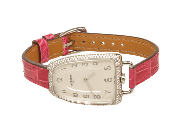 Hermes Galop Watch Silver Stainless Steel and Diamonds 26mm