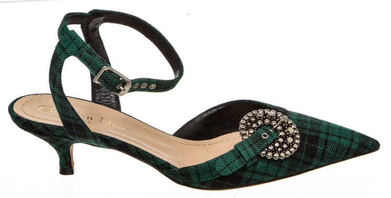 Christian Dior Green And Black Gang Tartan Ankle Strap Heels Size 36