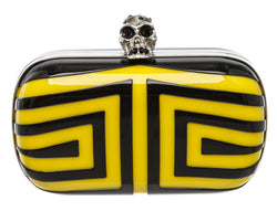 Alexander McQueen Black Yellow Plexi Stripe Skull Box Clutch Bag