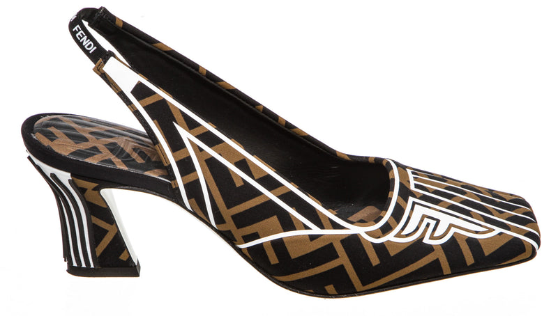 Fendi Brown Printed Freedom FF Slingback Shoes Size 36