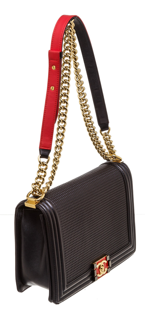Chanel Navy Blue and Red Cube Cruise Collection Medium Lambskin Boy Bag