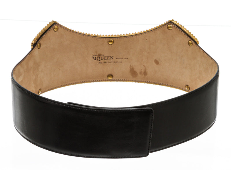 Alexander McQueen Black With Gold And Pearl Corset Waist Belt Size 85/34