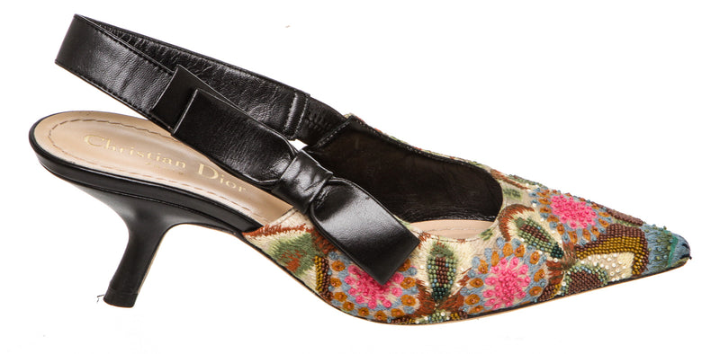 Christian Dior Multicolor Embroidered Calfskin Beaded Sweet D Sling-Back Size 36