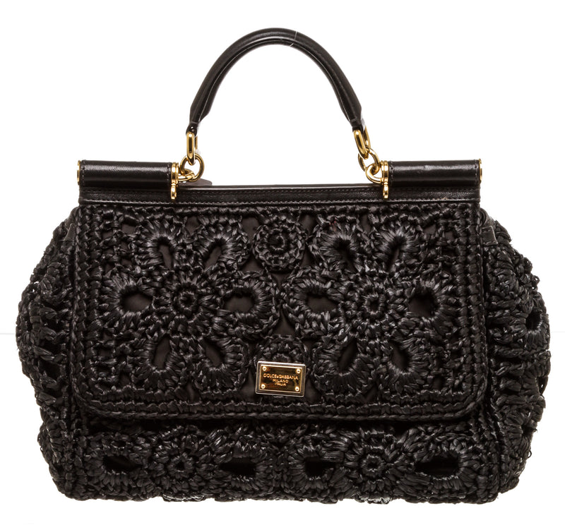 Dolce & Gabbana Black Raffia Sicily Top Handle Bag