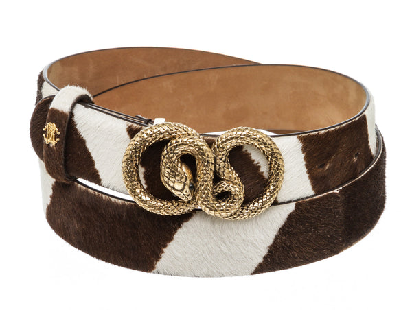 Roberto Cavalli Brown And White Pony Hair Gold Snake Buckle Belt GHW Size 46/95