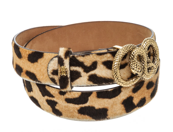 Roberto Cavalli Brown And Black Pony Skin Leopard Print Belt GHW Size 44/90