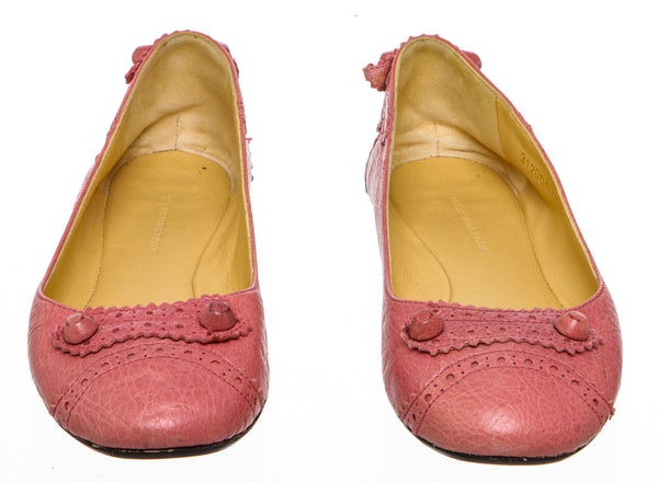 Balenciaga Pink Leather Arena Brogue Trim Ballerina Flats Size 36.5