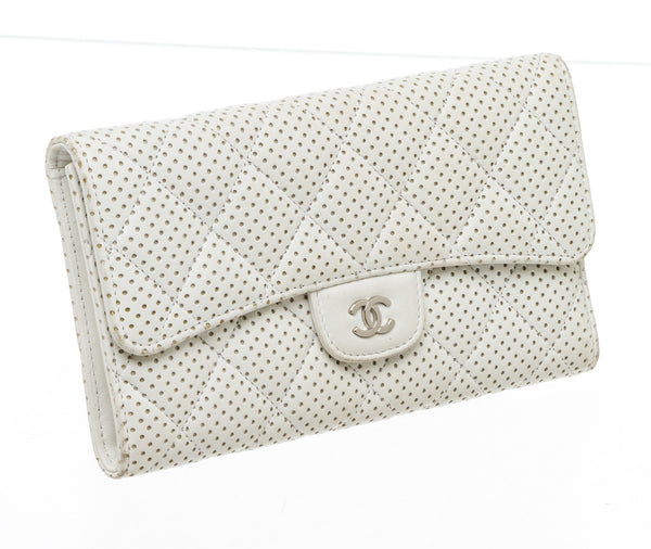 Chanel White Perforated Leather Continental Wallet SHW
