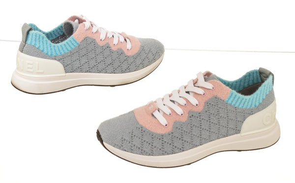 Chanel Gray And Pink Mixed Fibers Quilted CC Sneakers Size 9.5