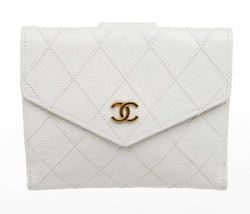Chanel White Vintage Bi-Fold Wallet