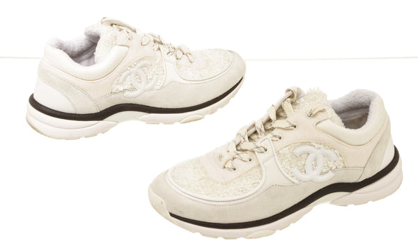 Chanel White Tweet Reflective CC Sneakers Size 39.5