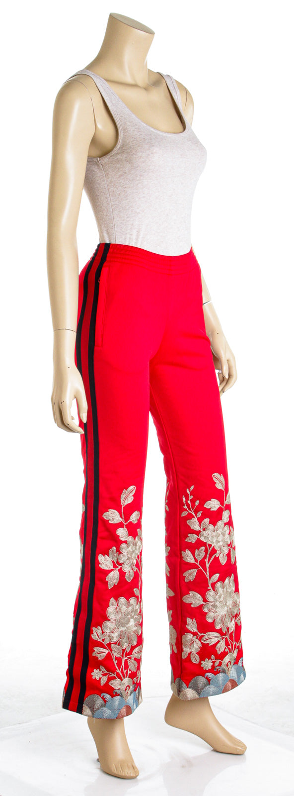 Gucci Red Floral Embroidered Jogger Tech Pants Size XS NEW