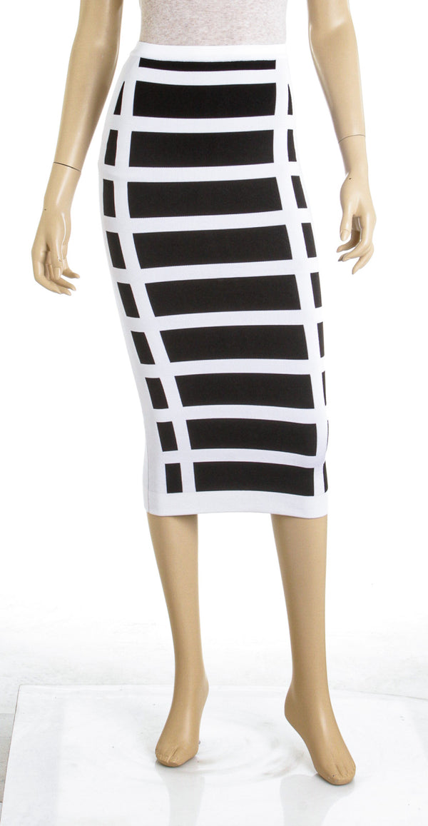 Balmain Black White Striped Pencil Silhouette Skirt Size 34