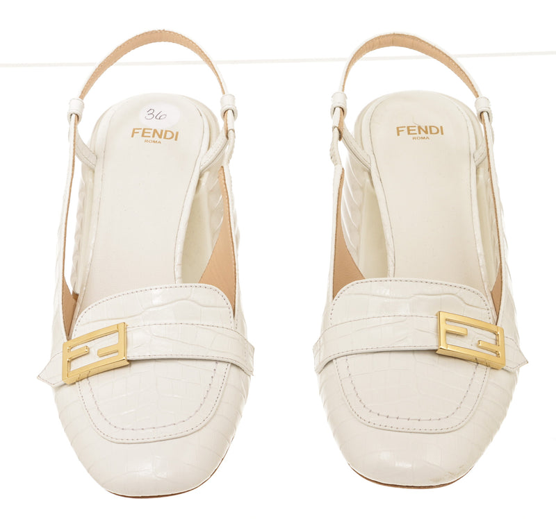 Fendi White Croc-Embossed Leather Slingback Pumps Size 36