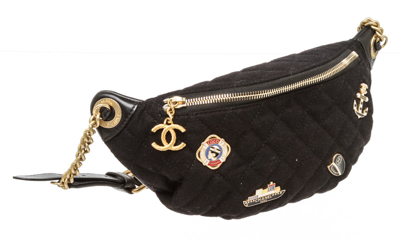 Chanel Quilted Black Charms Waist Bag