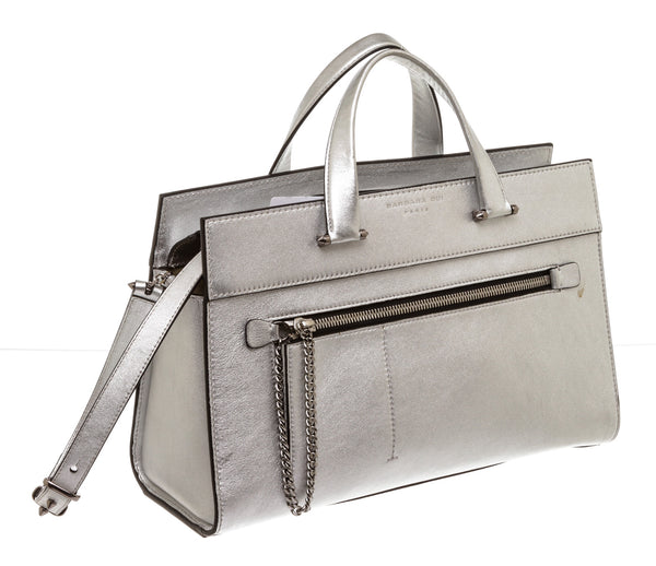 Barbara Bui Silver Metallic Leather tote