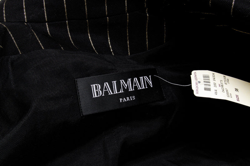 Balmain Metallic Black Gold Double Breasted Striped Jacket Blazer Size 38 NEW