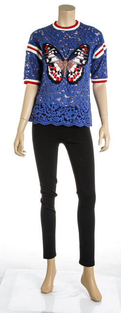 Gucci Blue Lace S/S Applique Butterfly Blouse Size Small