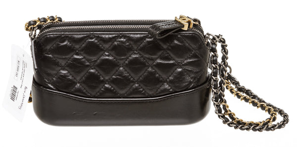 Chanel Black Gabrielle Clutch Black Dual Hardware