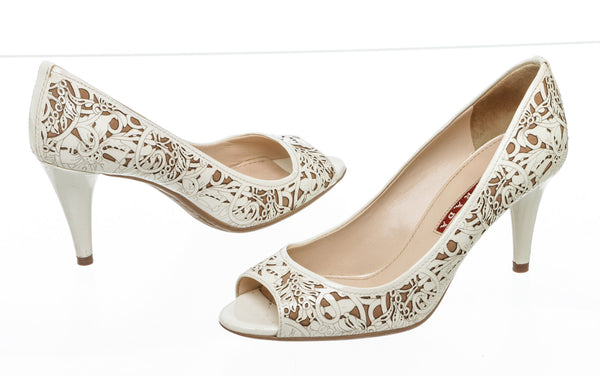 Prada Cream Patent Leather Laser Cut Floral Peep Toe Pumps Size 36.5