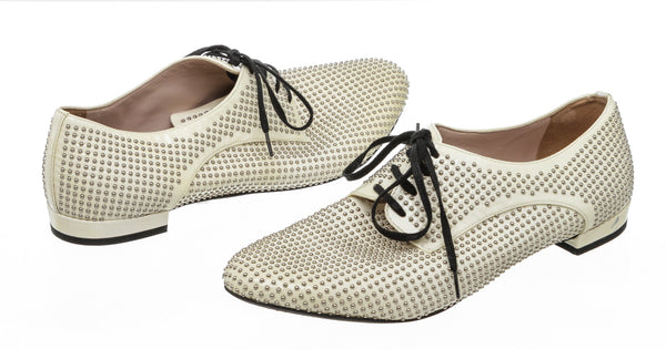 Miu Miu Studded Cream Patent Leather Lace-Up Oxfords Size 36