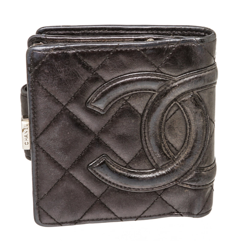 Chanel Black Leather Vintage CC Wallet SHW