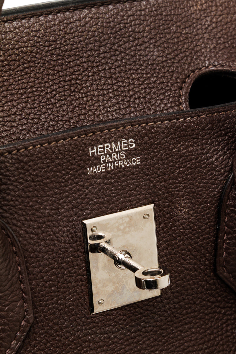 Hermes Chocolate Brown 35cm Birkin Palladium Hardware
