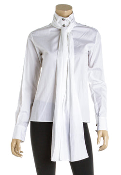 Chanel White Cotton Neck Tie Button Down Blouse Size 34