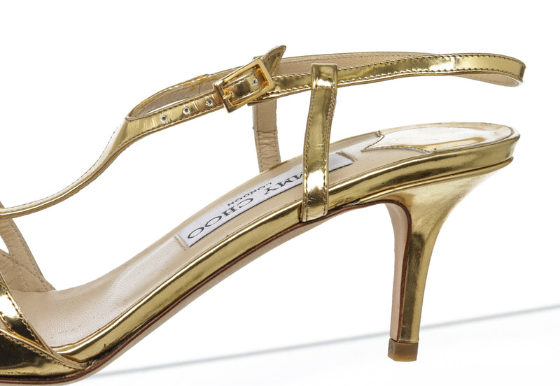 Jimmy Choo Gold Leather T Strap Sandals Size 37 NEW