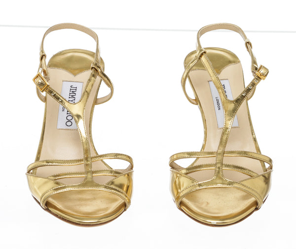 Jimmy Choo Gold Leather T Strap Sandals Size 36.5 NEW