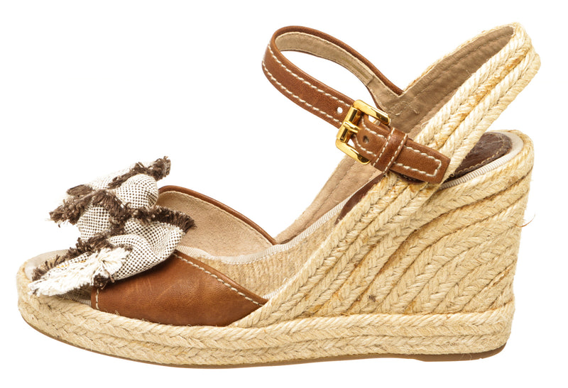 Prada Brown Leather Canvas Bow Espadrille Sandal Wedges Size 37.5