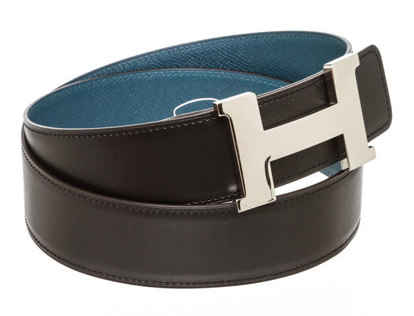 Hermes Reversible H Belt in Black and Grey 32mm