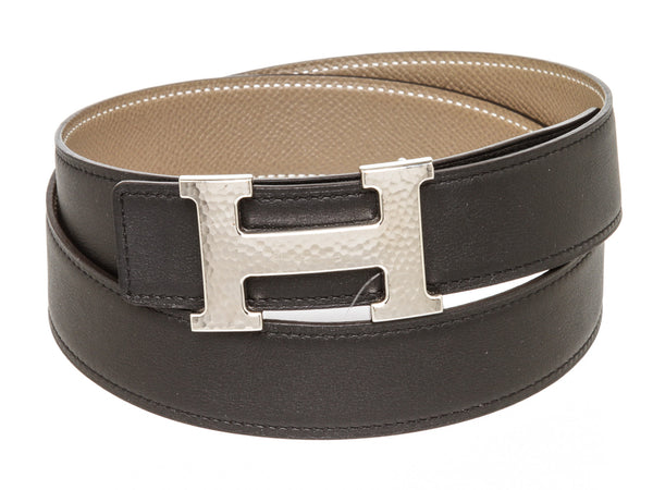 Hermes H Belt in Black and Taupe
