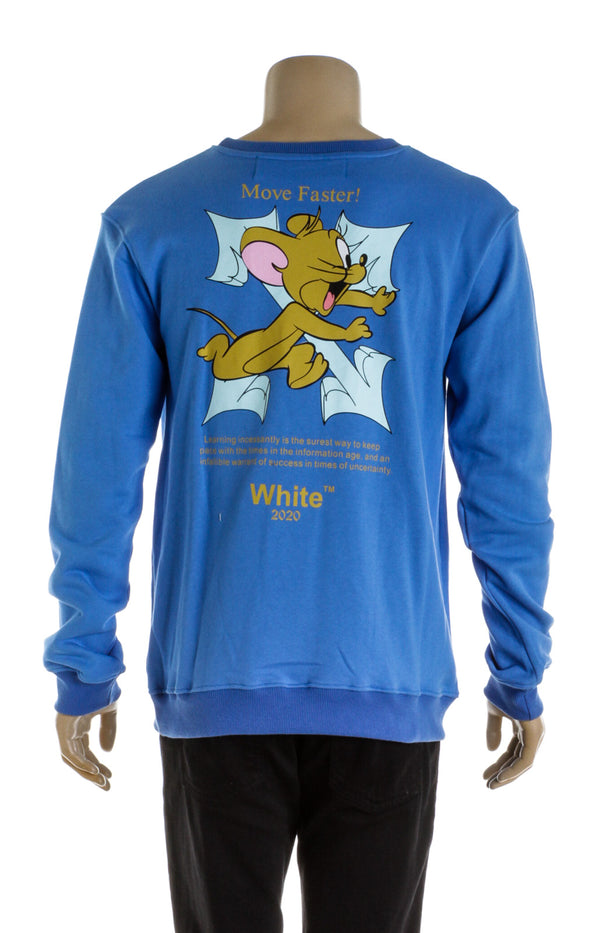 Off White Blue Tom and Jerry Men's Crewneck T-Shirt (Size L)