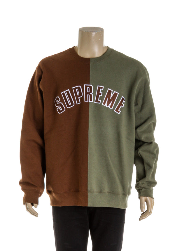 Supreme Brown and Green Color Block Men's Crewneck (Size XL)