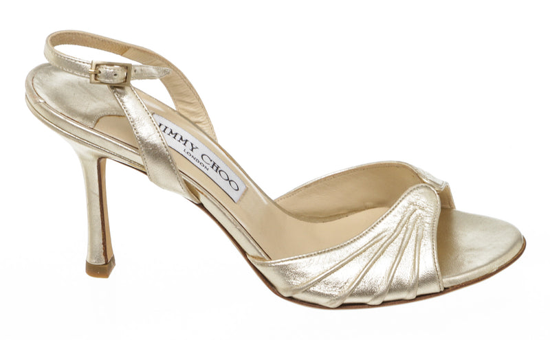 Jimmy Choo Pale Gold Metallic Leather Slingback Sandals Size 36 NEW