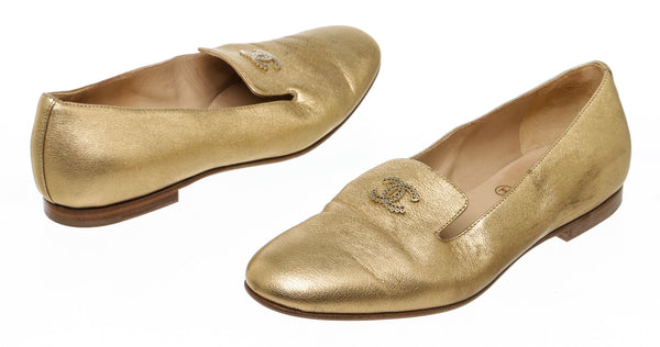 Chanel Gold Leather CC Logo Loafers Size 36.5