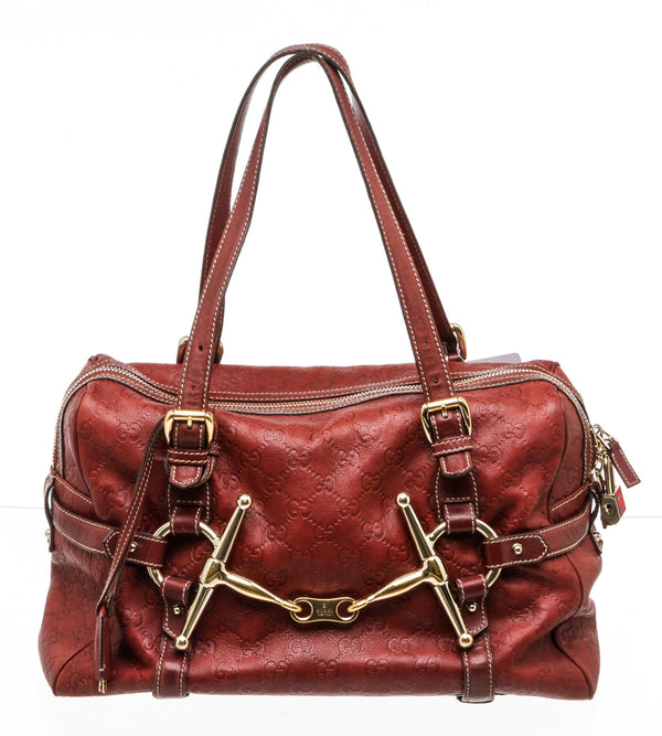 Gucci Burgundy Guccissima Leather Boston Bag Large
