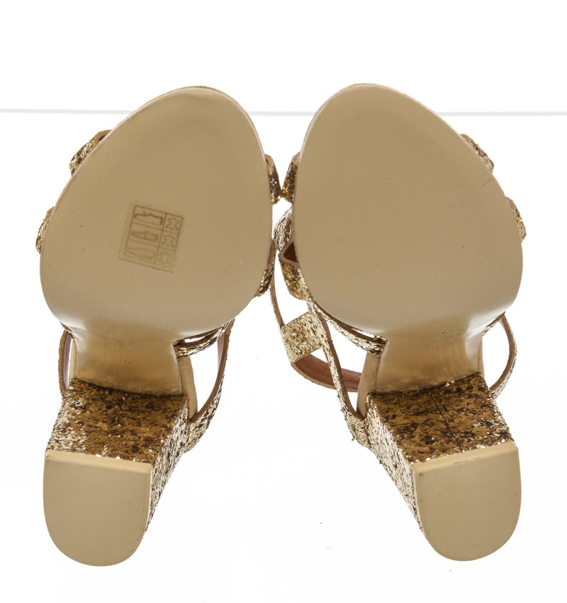 Givenchy Gold Glitter Block Heel Sandals NEW Size 36