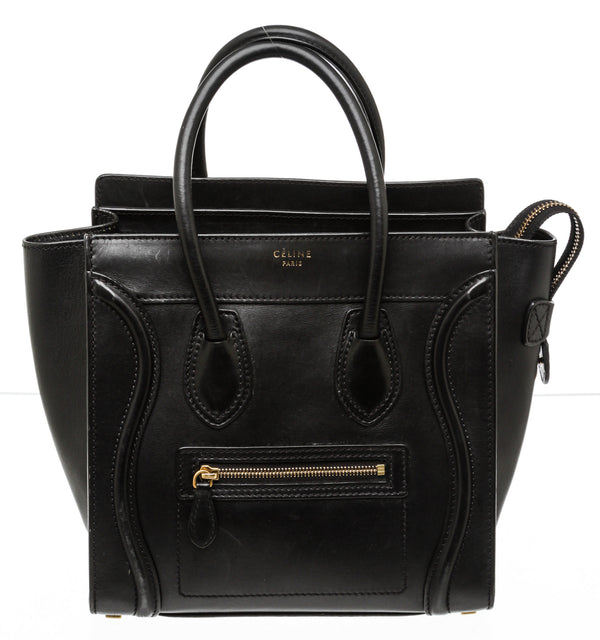 Celine Black Leather Mini Luggage Bag