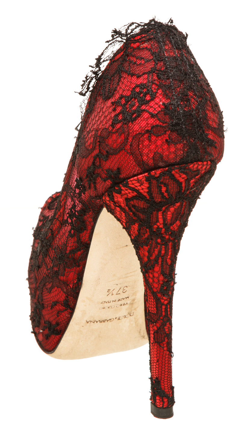 Dolce And Gabbana Red Satin and Black Lace Peep Toe Platform Pumps Size 37.5