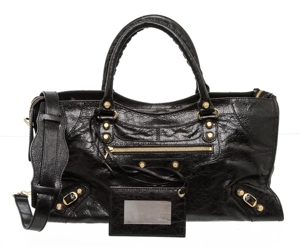 Balenciaga Black Grained Calfskin Leather Medium City Bag
