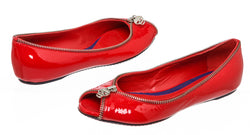 Alexander McQueen Red Patent Peep Toe Zipper Flats Size 36.5 NEW