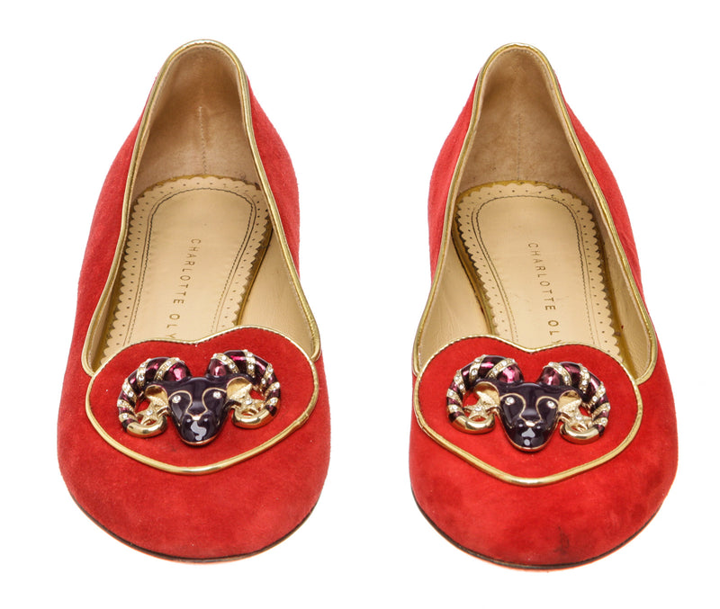 Charlotte Olympia Red Suede Birthday Aries Zodiac Smoking Slipper Size 37