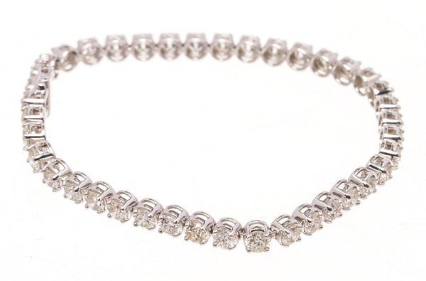 Custom 14k White Gold Diamond Tennis Bracelet